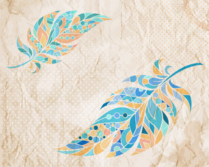 Grunge vintage background with ethnic patterned feathers