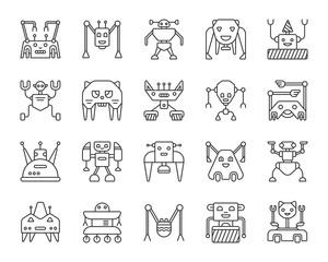 Robot simple black line icons vector set