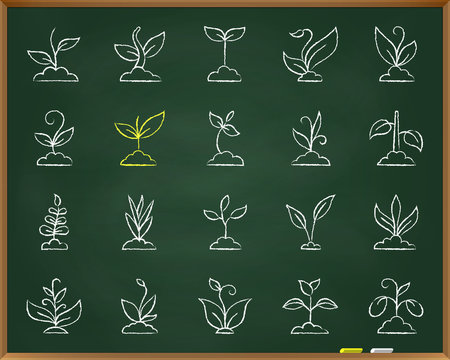 Grass chalk draw line icons vector set