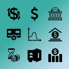 Vector icon set about bank with 9 icons related to bag, white, background, improvement, executive, bank, lettering, facade, pig and hand