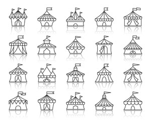 Circus Tent simple black line icons vector set