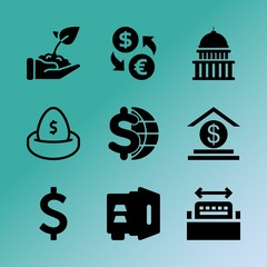 Vector icon set about bank with 9 icons related to analysis, stock market, fire, plan, profit, care, typography, urban, banking and account