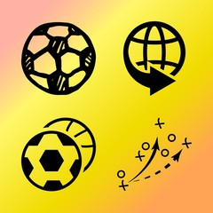Vector icon set  about soccer with 4 icons related to bright, fun, retro, travel and flag