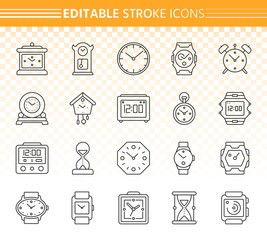 Watch simple black line icons vector set