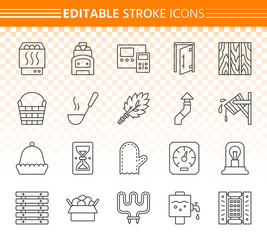 Sauna equipment simple black line icons vector set