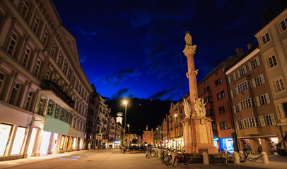 Digital Oil Painting, Beautiful twilight view of Our Lady statue in Innsbruck old town shopping street, Innsbruck, Tyrol, Austria, Europe