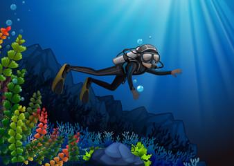 Scuba diver in a reef
