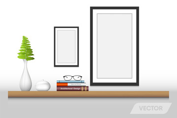 Book shelf and decorative interior., Vector design