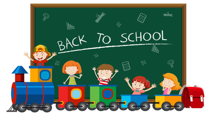 Back to school with children in train