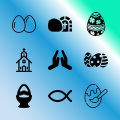 Vector icon set about easter with 9 icons related to christian, three, sketch, crucifix, jerusalem, easter, black, peace, traditional and icon