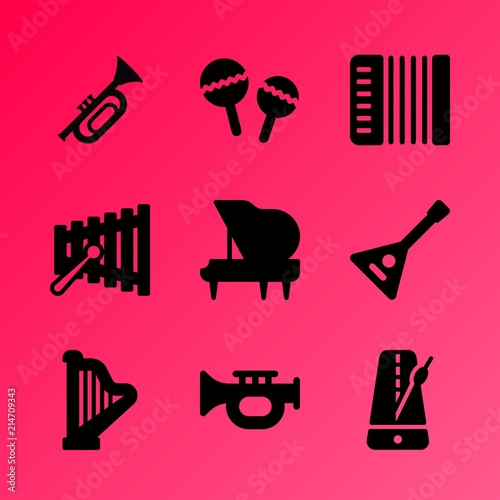 Vector Icon Set About Music Instruments With 9 Icons Related To Childhood Shape Tune
