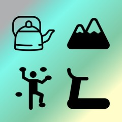 Vector icon set  about fitness and sport with 4 icons related to adventure, hill, boil, top and climbing