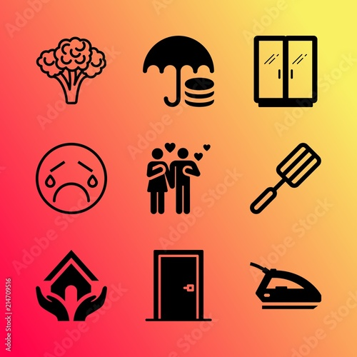 5f141b52 Vector icon set about home with 9 icons related to new, vitamin, trendy,