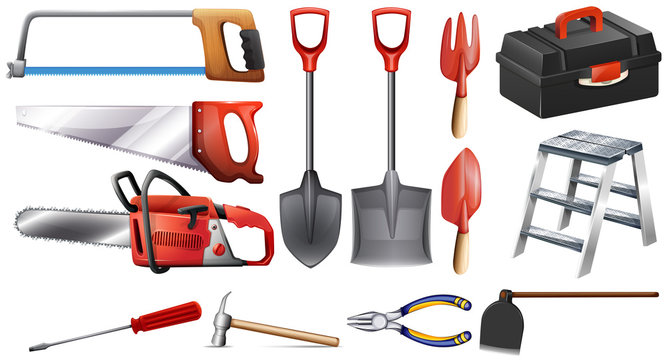 A set of construction tools