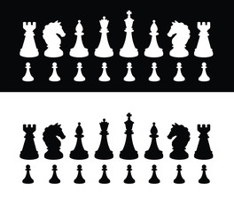 Black and white chess pieces. Vector silhouettes. The image is isolated from the background. Figures for playing chess. The material is ready for use in chess schools and design mock-ups.