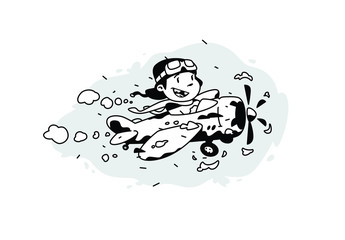 Illustration of a cartoon boy flying in a plane among the clouds. Vector illustration. Image is isolated on white background. Illustration for print and websites. The pilot is the hero of our time.