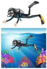 Diver snorkeling through a reef