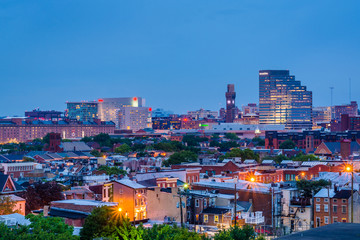 Downtown Baltimore night view in Baltimore, Maryland