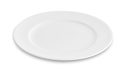 empty white plate, dish isolated on white background.