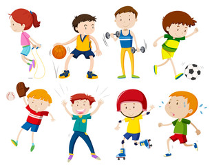 Set of kids doing activites