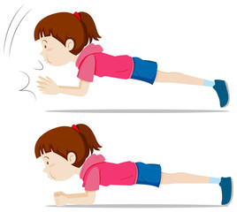 A girl plank exercise