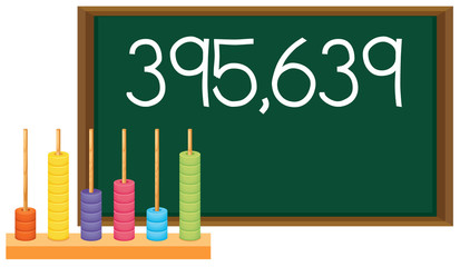 An abacus and number on blackboard