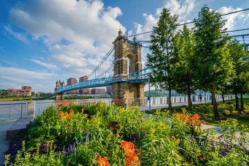 Wall Mural - Flowers and the John A. Roebling Suspension Bridge in Cincinnati, Ohio