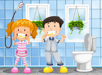 Children brushing the teeth