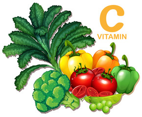 Set of foods containing vitamin C
