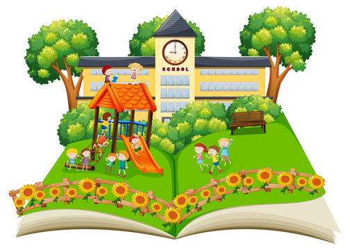 Scene of children playing in the schoolyard pop up book