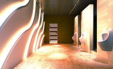 Toilette per uomo con orinatoio, wc, rendering 3d, bagni pubblici, illustrazione 3d