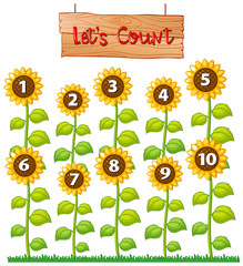 Lets count poster with sunflowers