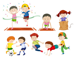 Set of kids doing sport activies