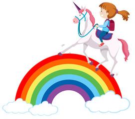Girl riding unicorn over rainbow