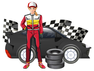 Female formula one driver and car