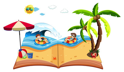 A pop up book with beach scene
