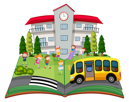 A popup book with children at school
