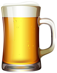 A mug of beer on white background