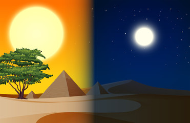 Day and nightime pyramid desert scene