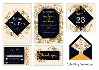 Wedding invitation , Save the date, RSVP card, Thank you card, Table number, Gift tags, Place cards, Respond card.