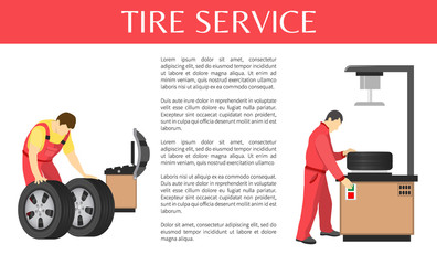Tire Service Colorful Vector Banner of Car Garage