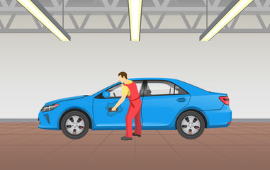 Car Polishing in Garage Job Vector Illustration