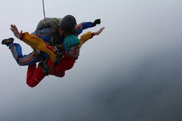 Acrylic Prints Sky sports Skydiving. Tandem jump.