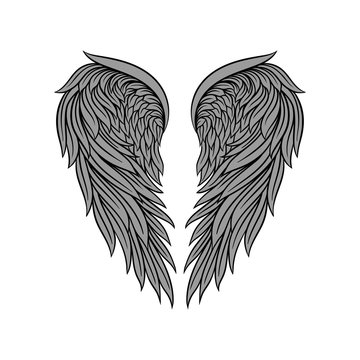 Vector icon of gorgeous heraldic angel wings with gray feathers and black contour. Element for tattoo, t-shirt print or vintage poster