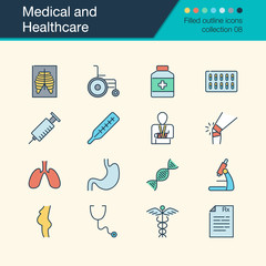 Medical and Healthcare icons. Filled outline design collection 8. For presentation, graphic design, mobile application, web design, infographics.