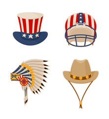Hat and Items Connected to USA Vector Illustration