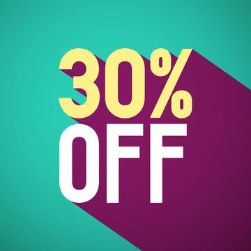 30% Off Retro Vector Flat Design Label. Thirty Percent Discount Symbol.
