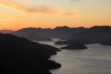 Keuken foto achterwand Oceanië Sunset scene in the Marlborough Sounds, New Zealand.