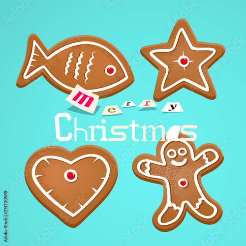 Gingerbread Christmas Symbols On Retro Blue Background Merry Xmas