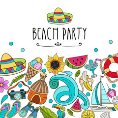 Cartoon hand drawn poster consisting of individual elements. Summer, rest, sea, rest. Vector illustration.